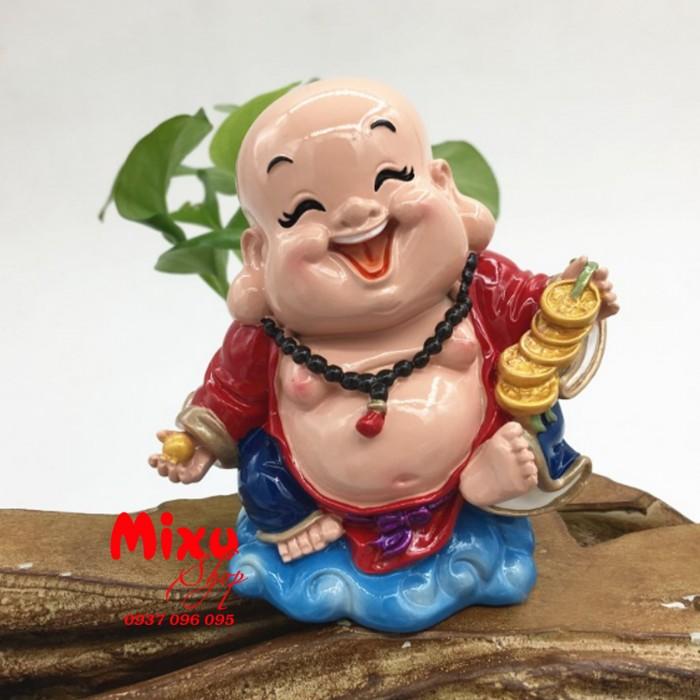 Tượng Phật Di Lặc Cầm Xâu Tiền 9cm2