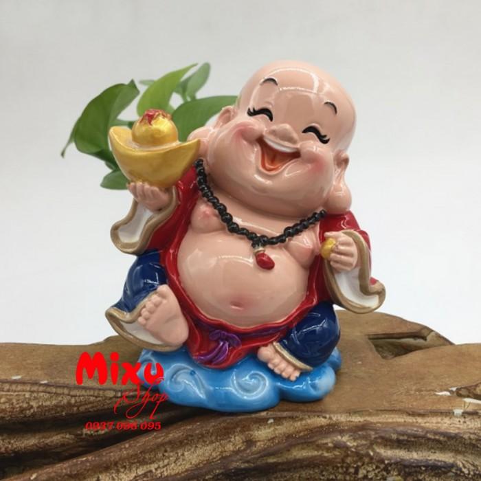 Tượng Phật Di Lặc Cầm Thỏi Vàng 9cm3