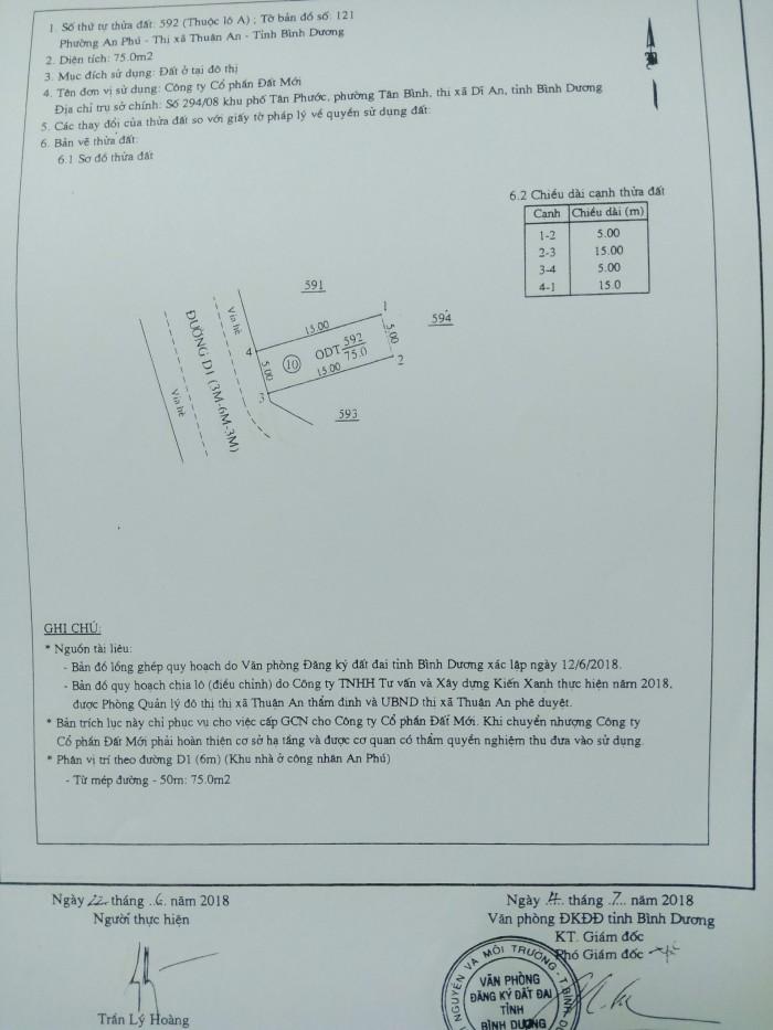 Bán đất Vsip 1 mở rộng 5x15m, 5x17m giá rẻ cho anh chị đầu tư, định cư cực đẹp.