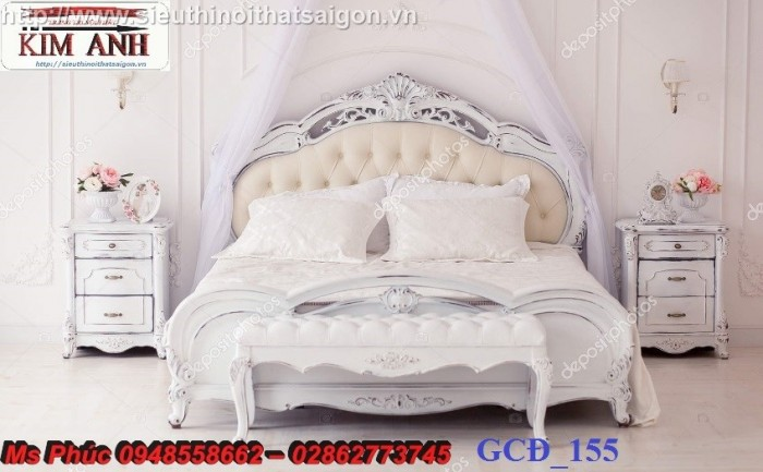 Đặt mua bộ giường ngủ cổ điển màu trắng cao cấp ms 263 giá rẻ tại xưởng, chiết khấu cao cho cửa hàng25
