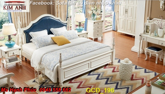 giường ngủ tân cổ điển cao cấp màu xanh5