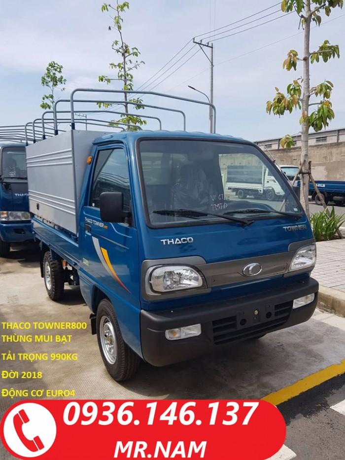 Xe tải nhẹ Thaco Towner800 đời 2018 tải trọng 900kg, xe mới 100% tại Tp.HCM. Hỗ trợ vay trả góp.