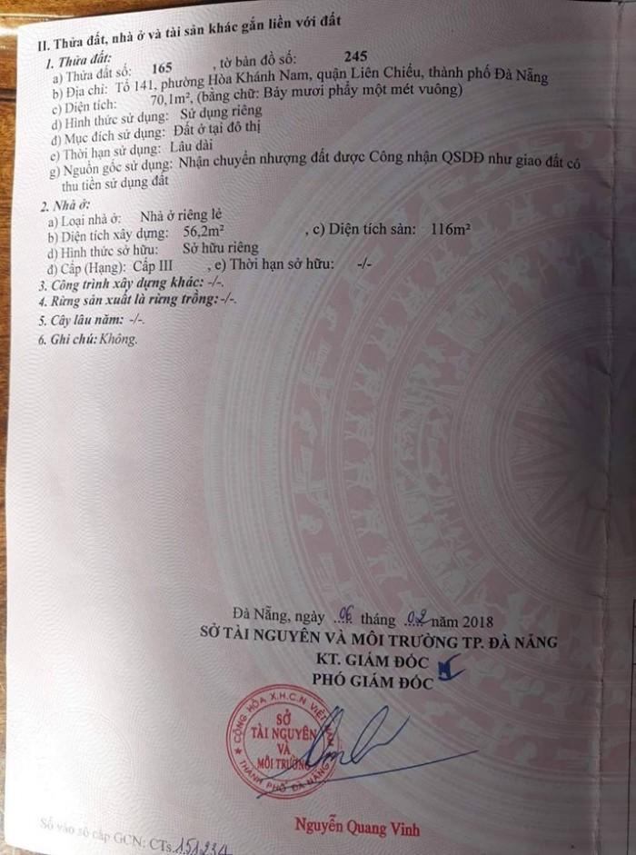 Chính chủ chào bán nhà 1 mê trên lợp kiệt 44 Đà Sơn-Liên Chiểu,Đà Nẵng