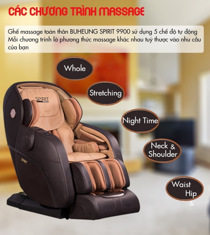 Ghế massage Buheung Spirit 9900 NEW - Gymaster3