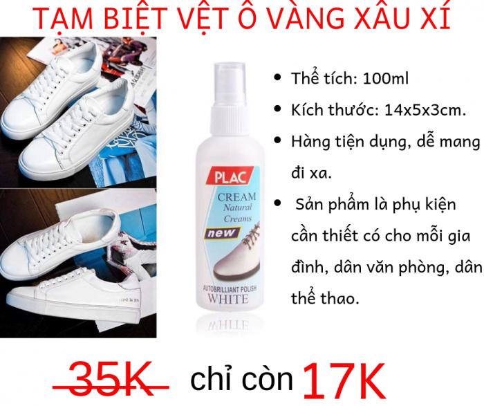 Chai Lăn Vệ Sinh Giày Túi Plac Cream Đánh Bay Mọi Vệt Ố Vàng5