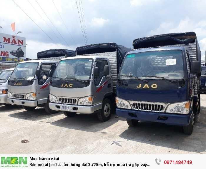Bán xe tải jac 2.4 tấn thùng dài 3.720m, hỗ trợ mua trả góp vay 70%, giá ưu đãi