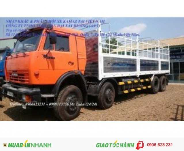 Tải thùng 4 giò Kamaz, Kamaz thùng 30 tấn, Bán xe tải thùng kamaz 4 chân dài 9m 0