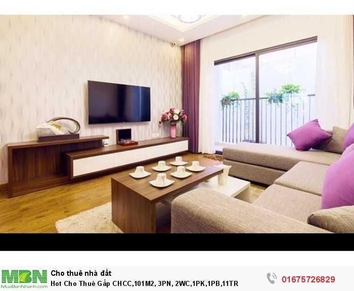 Hot Cho Thuê Gấp CHCC,101M2, 3PN, 2WC,1PK,1PB