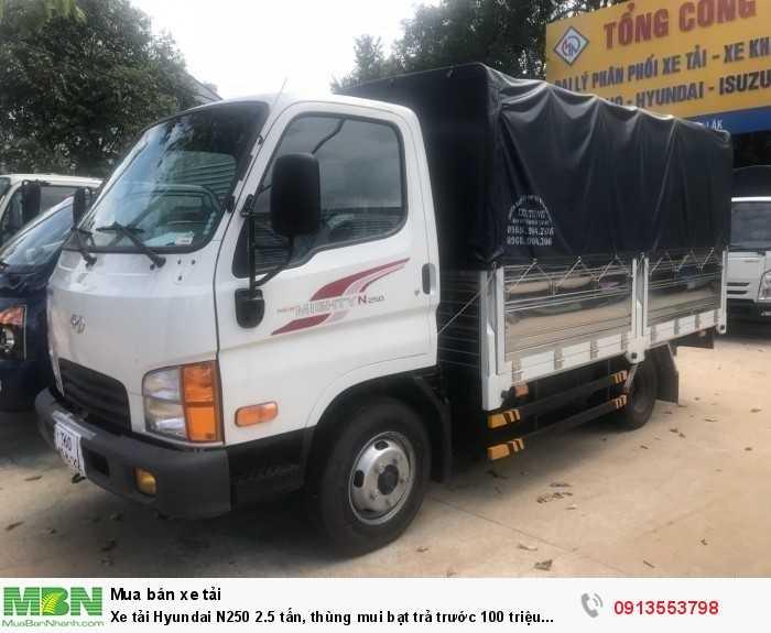 Xe tải Hyundai N250 2.5 tấn, thùng mui bạt trả trước 70 triệu giao luôn xe