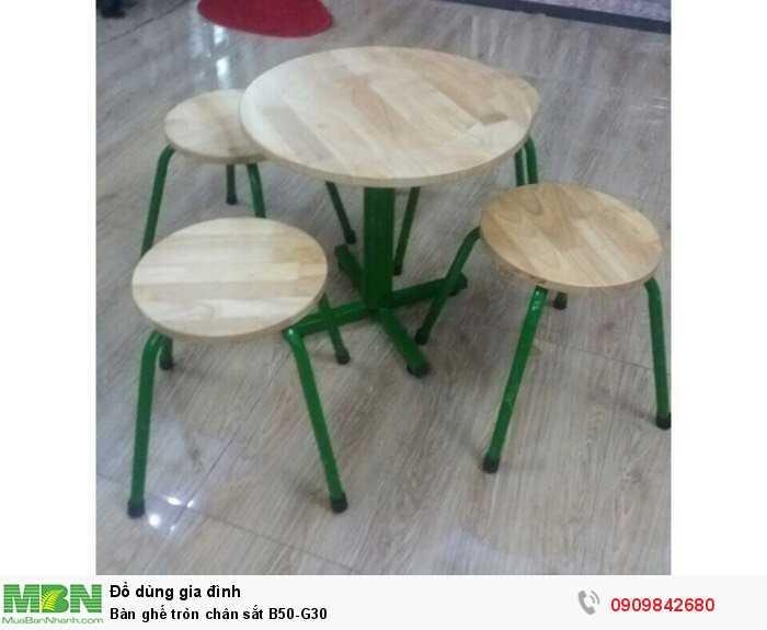Bàn ghế tròn chân sắt B50-G30