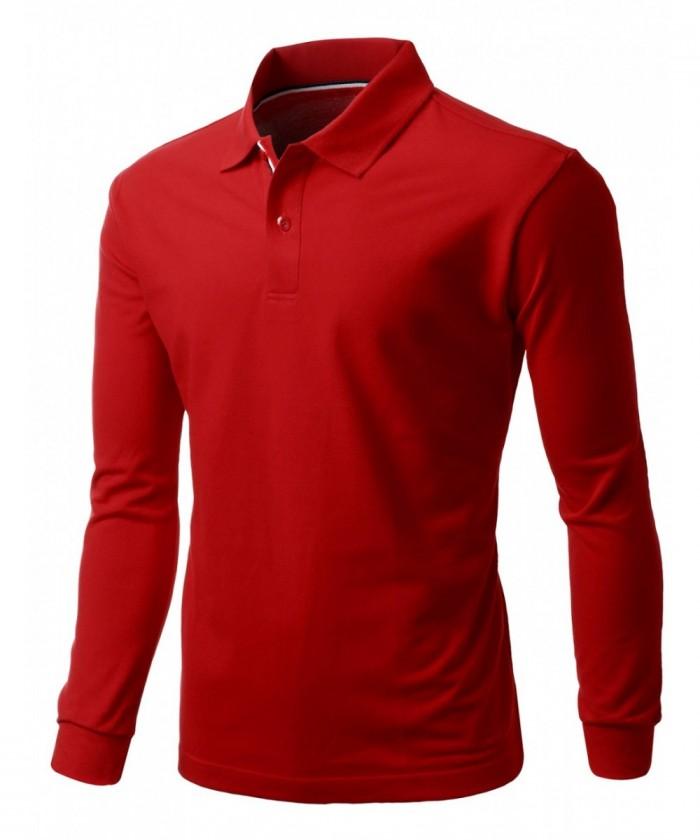 may áo thun tay dài màu đỏ tươi  làm đồng phục cho nhân viên giao hàng