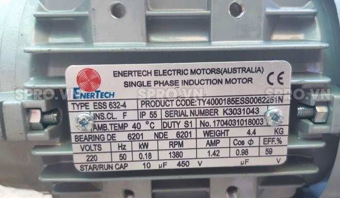 Thông số động cơ mô tơ điện Enertech ESS000184 1 pha công suất 0.25 Hp