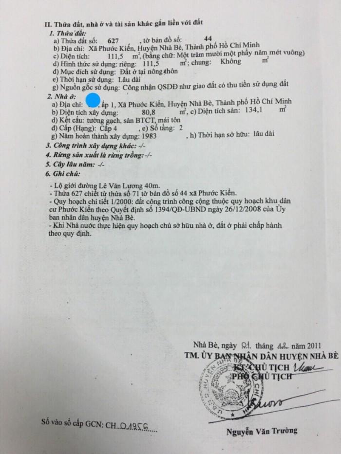 Cần Bán Nhà Mặt Tiền Lê Văn Lương, Nhơn Đức, Nhà Bè, Tphcm