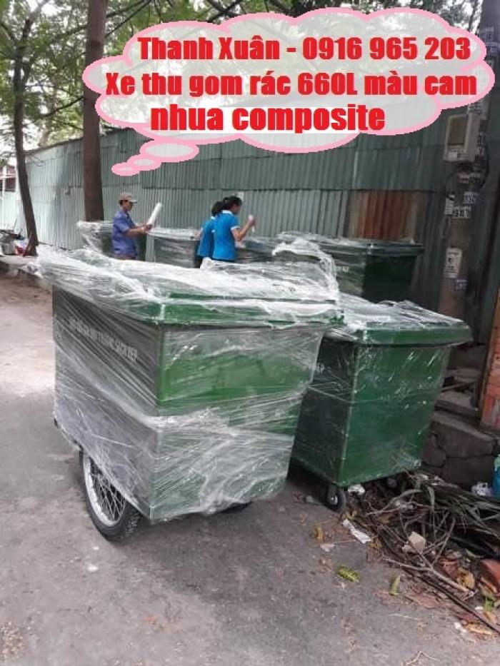 Sản xuất xe thu gom rác 1000L 3 bánh hơi3
