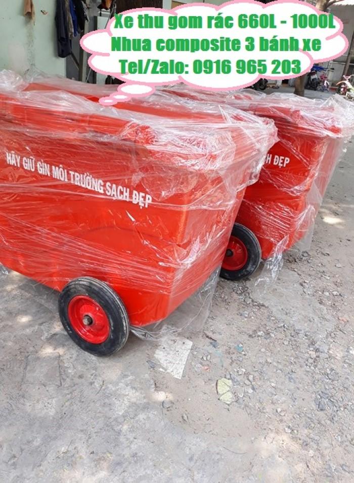 Xe rác màu cam 660L 3 bánh đúc đặc2