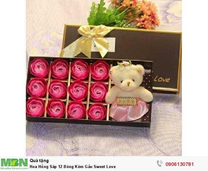 Hoa Hồng Sáp 12 Bông Kèm Gấu Sweet Love0