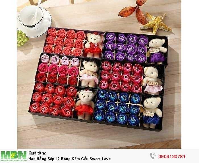 Hoa Hồng Sáp 12 Bông Kèm Gấu Sweet Love1