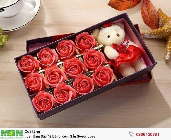 Hoa Hồng Sáp 12 Bông Kèm Gấu Sweet Love2