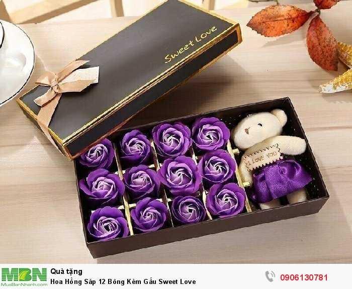 Hoa Hồng Sáp 12 Bông Kèm Gấu Sweet Love3