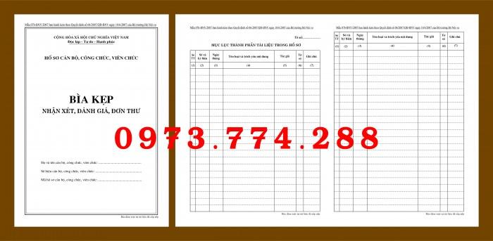 Tìm mua nguyên bộ 3 bìa kẹp hồ sơ cán bộ công chức, viên chức ở đâu?