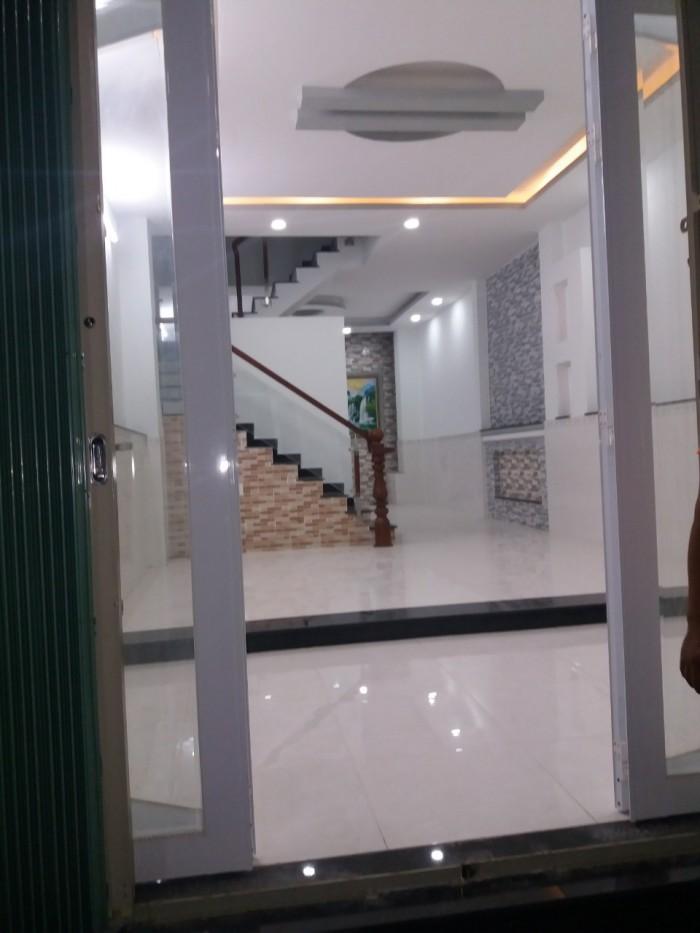 Bán gấp nhà mới mặt tiền hẻm 1982 Huỳnh Tấn Phát, Nhà Bè. DT 183m2, 1 trệt 2 lầu mái đúc
