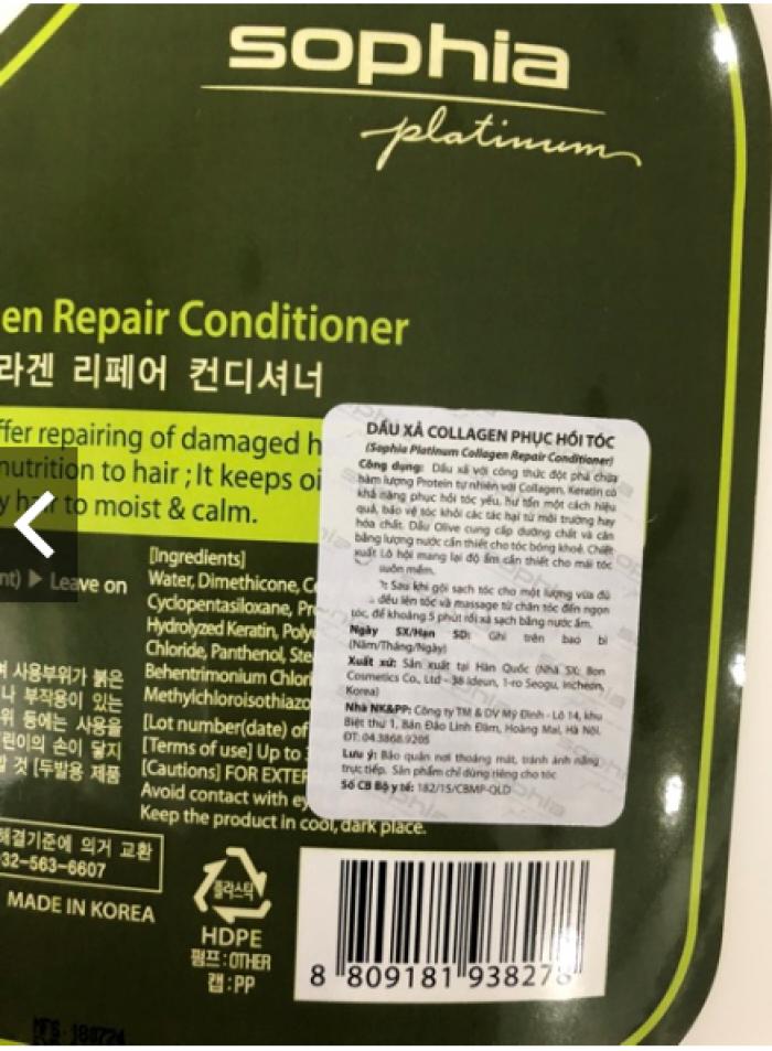 Dầu xả phục hồi Sophia Platinum Collagen Repair Conditioner 3500ml1