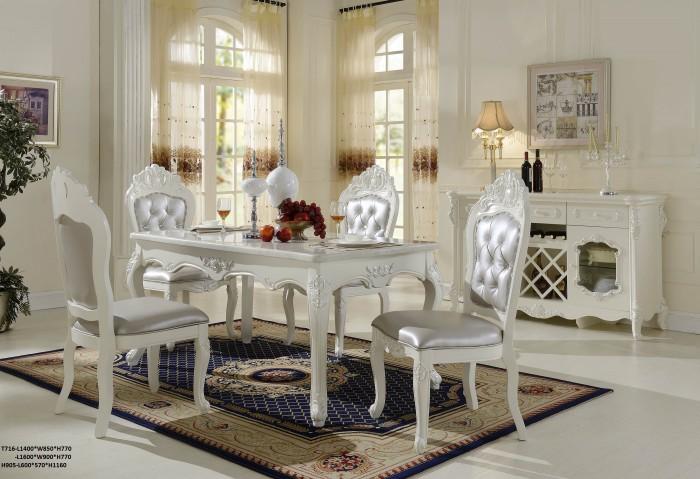 bộ bàn ăn tân cổ điển màu trắng Q3 Q88