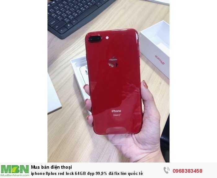 Iphone 8plus red lock 64GB đẹp 99,9% đã fix lên quốc tế0