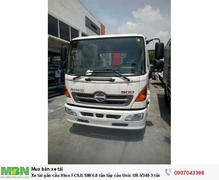 Xe tải gắn cẩu Hino FC9JLSW 4.8 tấn lắp cẩu Unic UR-V340 3 tấn, trả trước 200 triệu, giao luôn xe