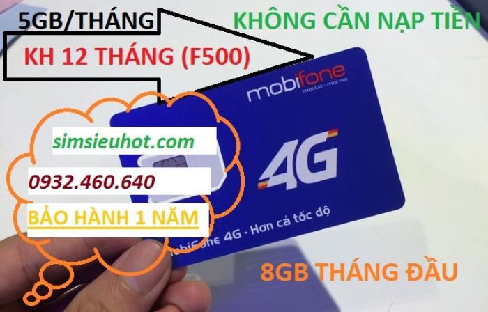 SIM 4G Mobifone F500 Trọn Gói 1 Năm (5GB/Tháng) Không Cần Nạp Tiền0