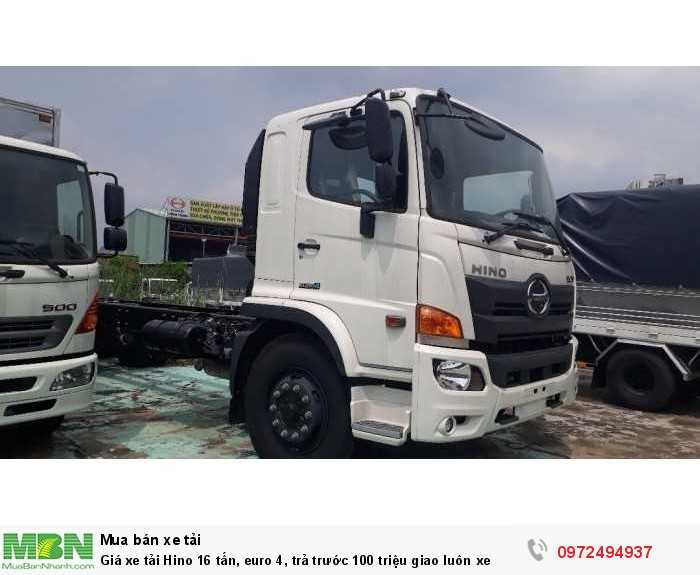 Giá xe tải Hino 16 tấn, euro 4, trả trước 100 triệu giao luôn xe