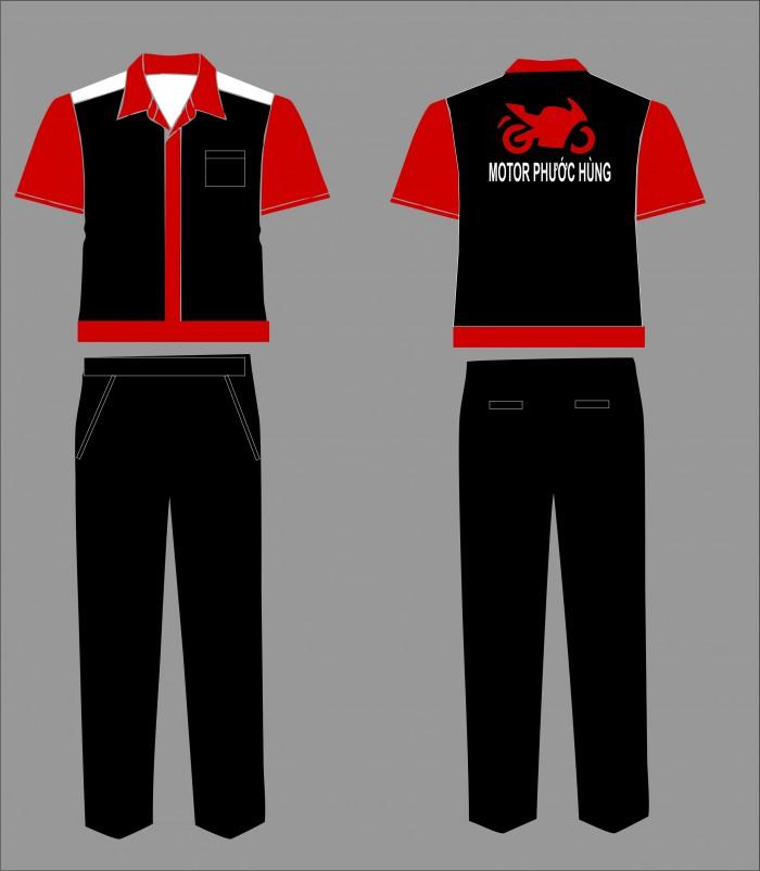nhận may đồng phục xe máy cho các trạm dịch vụ - quần áo bảo hộ vải kaki