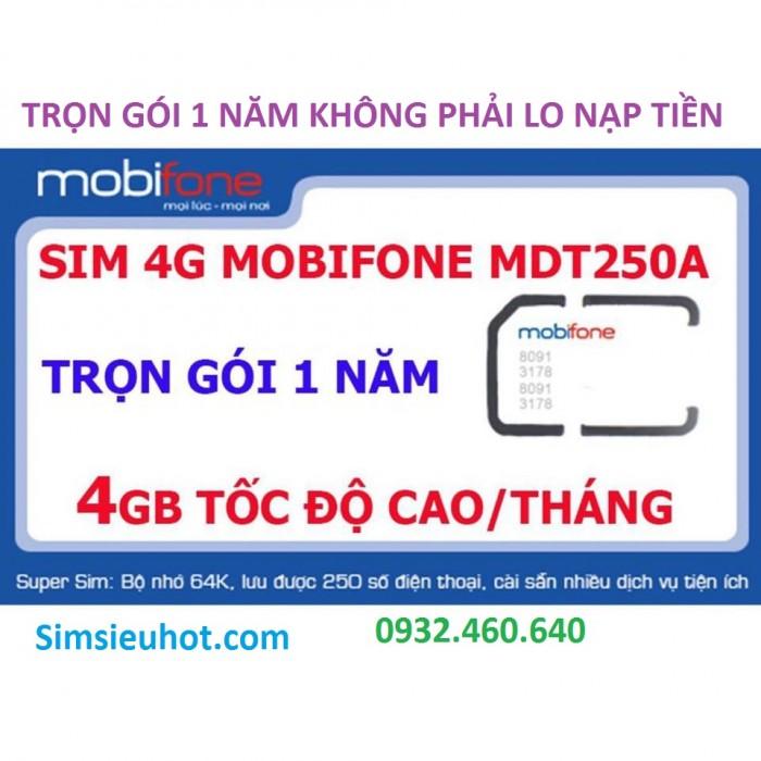 Sim 4G Mobifone MDT250A Trọn Gói 1 Năm (4GB/Tháng) Không Cần Nạp Tiền0