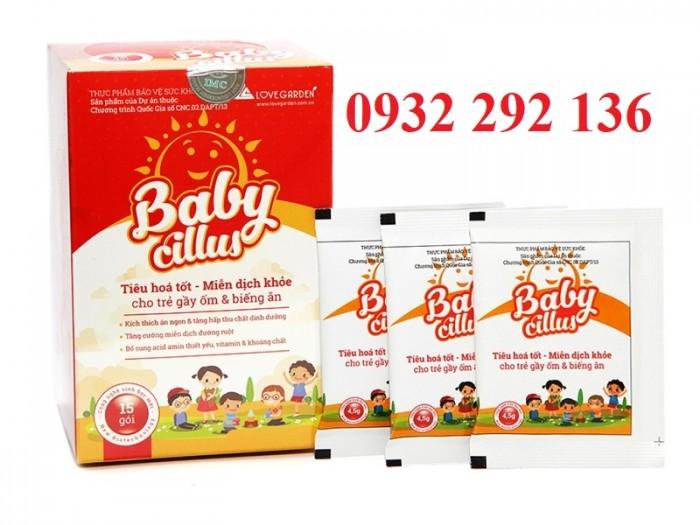 Cốm tiêu hóa Babycillus giúp trẻ ăn ngon, hết suy dinh dưỡng, tăng sức đề kháng và giảm nguy cơ mắc bệnh. Hộp 15 gói, giá bán 240.000đ/ hộp. Liên hệ: 0932 292 136 để được tư vấn và giao hàng toàn quốc0