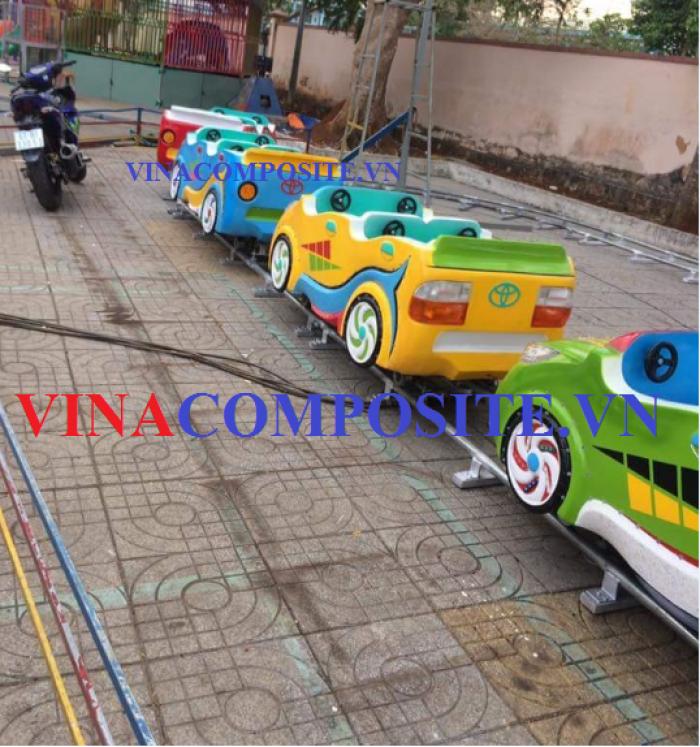 Tàu lửa điện trẻ em mô hình xe mô tô bằng composite, đường ray sắt ống tráng kẽm4
