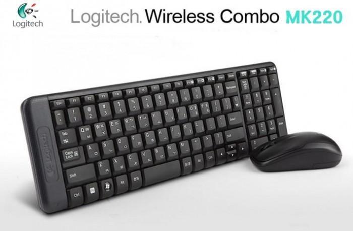 Bộ bàn phím chuột không dây Logitech MK220 chính hãng tặng pin0
