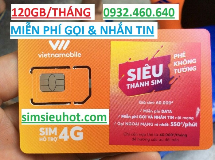 Siêu Thánh Sim 4G Vietnamobile- Tặng 120GB/ tháng- Miễn phí gọi nội & ngoại mạng0