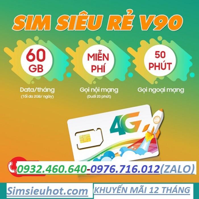 Sim 4G Viettel V90 - Tặng 62GB Data, miễn phí nghe gọi, miễn phí tháng đầu (Sim 11 số)