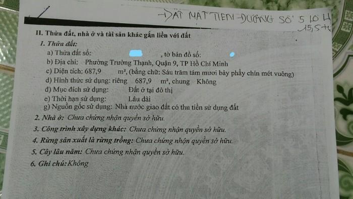 Cần Bán Đất Thổ Cư đường 5 Lò Lu P.Trường Thạnh Q.9