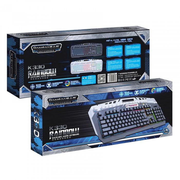 Bàn phím giả cơ Bosston K330 led 7 màu có giá đỡ điện thoại chính hãng2