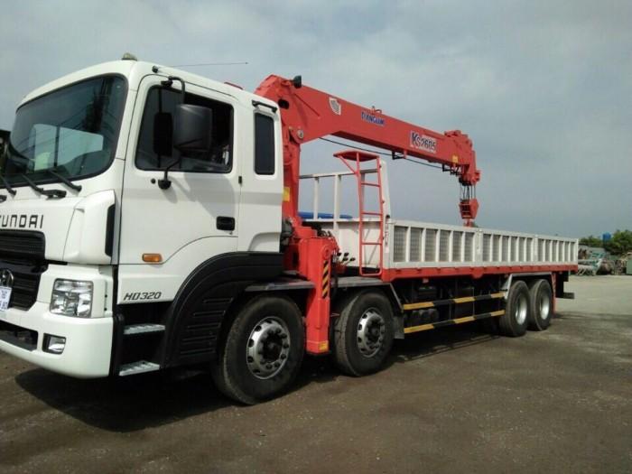 Xe tải Hyundai HD320 4 chân, gắn cẩu 10 tấn KangLim, tải trọng hàng 12 tấn, cẩu vươn dài 19m