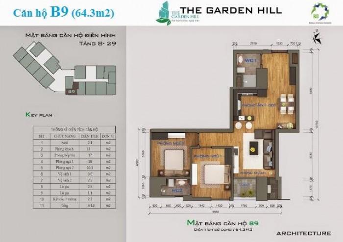 Cần Bán Căn Hộ 2 Ngủ Giá Rẻ Tại Dự Án The Gaden Hill 99 Trần Bình