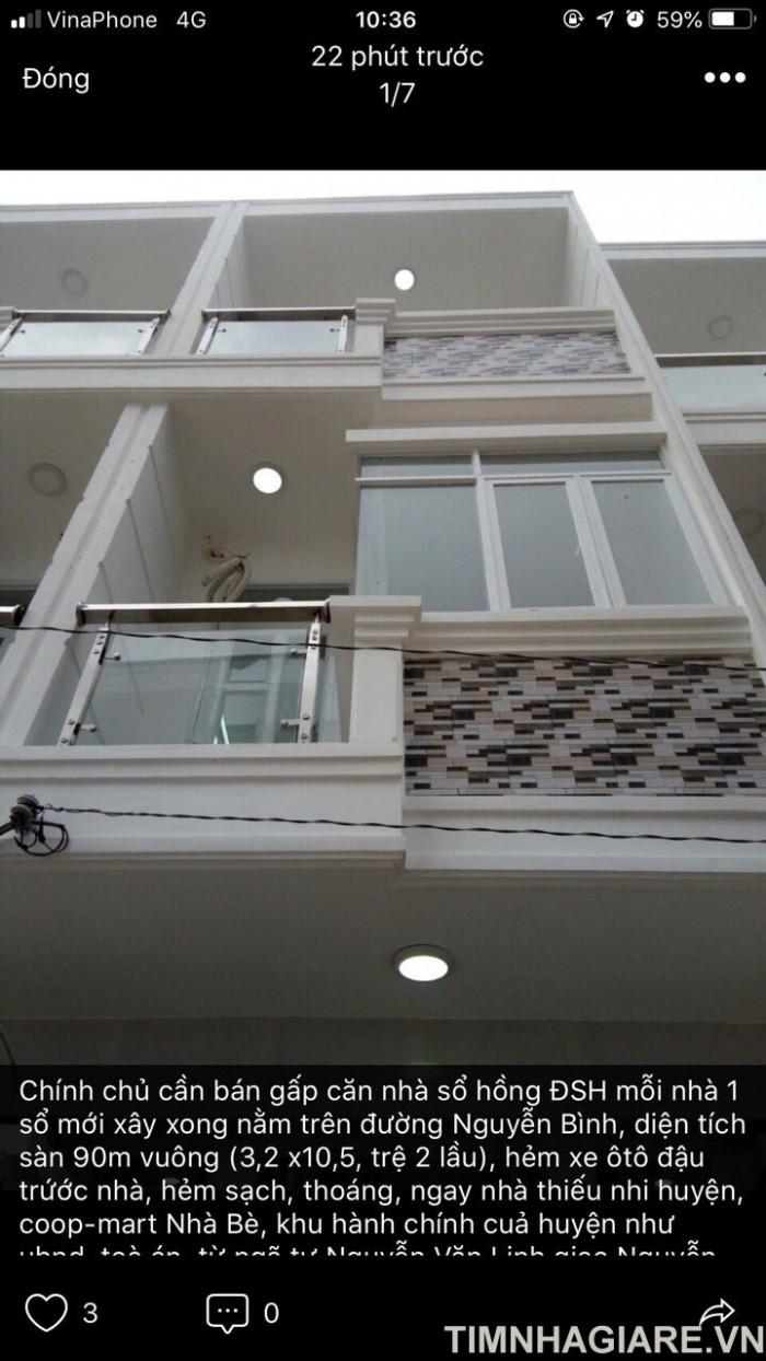 Nhà mới đường Nguyễn Bình, Nhà Bè, 2 lầu 4PN, hẻm xe hơi