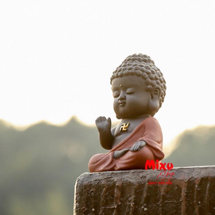 Tượng chibi Phật A Di Đà bằng gốm tử sa17