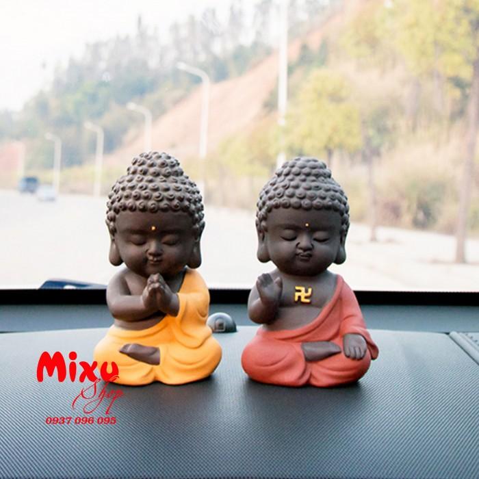 Tượng chibi Phật A Di Đà bằng gốm tử sa1