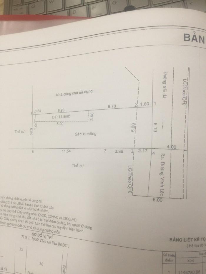 Bán lô đất 5,2x18m thổ cư 100% tại UBND Vĩnh Lộc B, thanh toán 35% nhận nền xây dựng