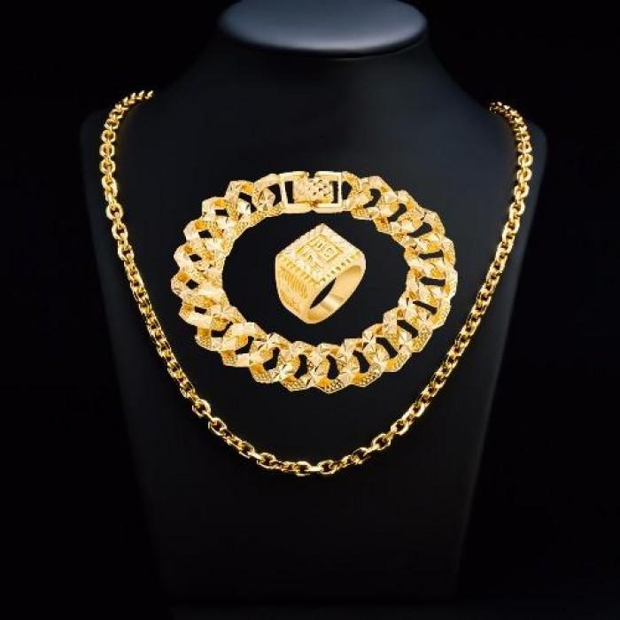 Combo nhẫn + dây chuyền mạ vàng cao cấp0
