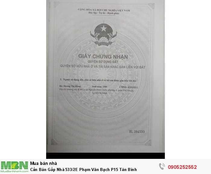Cần Bán Gấp Nhà 533/2E Phạm Văn Bạch P15 Tân Bình