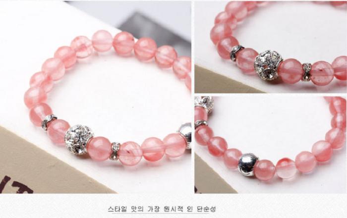Vòng tay đá tự nhiên thạch anh hồng Hàn Quốc hợp mệnh Hỏa, mệnh Thổ4