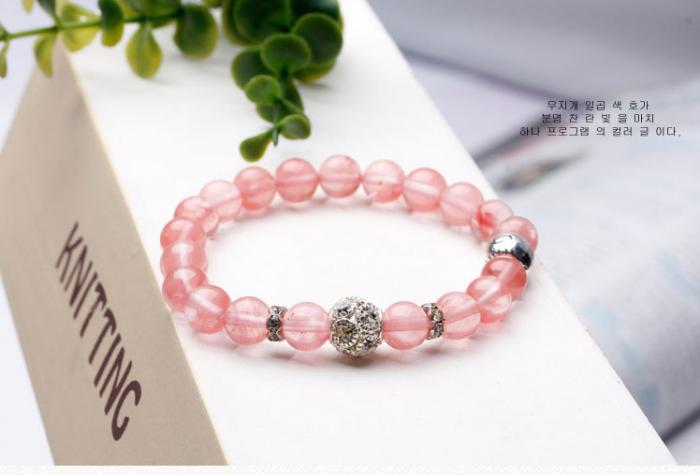 Vòng tay đá tự nhiên thạch anh hồng Hàn Quốc hợp mệnh Hỏa, mệnh Thổ2